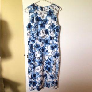 Calvin Klein Blue Floral Sheath Dress Sz. 10